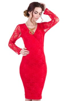 Rochie Nora din Dantela Rosie – Karla.Club Pumps Nude, Bodycon Dress, Formal Dresses, Club, Red, Collection, House, Ideas, Fashion