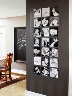 #Fotomuur in #zwart, zonder lijsten. Stijlvolle #foto's in #zwart-wit van de hele #familie. #pictures #wall #black