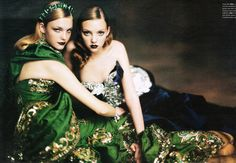 Ladies In Waiting   Heather Marks and  Caroline Trentini by Paolo Roversi for W Magazine, October 2004