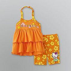 Infant & Toddler Girl's Halter Tank Top & Shorts Set- Hello Kitty