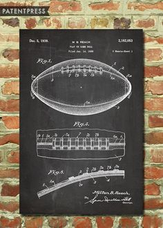Football Player Gifts, Gifts For Football Fans, Men's Football, Football Fever, Antique Prints, Or Antique, Blueprint Art, Sports Art, Canvas Prints