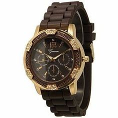 Women's Geneva Brown w/ Gold Chronograph Silicone Rubber Jelly with CZ Crystal Rhinestones Face Bling Bezel,$13.00