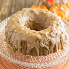Pumpkin Spice is nice especially in this Pumpkin Pecan Bundt Cake with Spice Caramel Icing