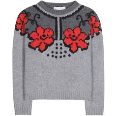 Stella McCartney Virgin Wool Sweater (€1.720) ❤ liked on Polyvore featuring tops, sweaters, grey, grey sweater, gray top, stella mccartney, gray sweater and grey top