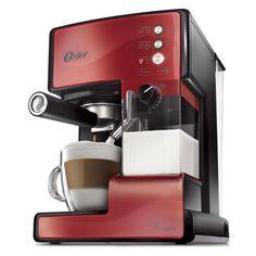 Compra Cafetera automática para espresso, latte y cappuccino PrimaLatte™ Oster® roja en Oster.cl .