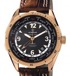 18 karaat roségouden Eterna automaat heren horloge Kontiki Master model met bruine lederen band, GMT en datum. Prijs €7595,-  www.juweelco.nl