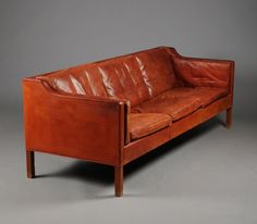 Børge Mogensen - leather & teak sofa for Fredericia Furniture, 1962. Model 2213