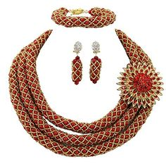 Africanbeads 3Rows Red African Beads Jewelry Set,Statement Nigerian Wedding African Costume Beads Jewelry Africanbeads http://www.amazon.com/dp/B00YS4L72Y/ref=cm_sw_r_pi_dp_ytuKwb0P62Y7E
