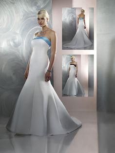 Distinct White Mermaid / Trumpet Corset Strapless Court Train Satin Wedding Dress for Brides