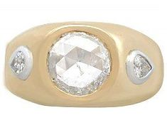 1.45 ct Diamond and 18 ct Yellow Gold Dress Ring - Vintage French Circa 1950 SKU: A9350 #signetring #frenchsignetring