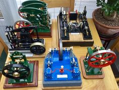 My Albert Ranaldi Collection. All made for me by old Albert Ranaldi. Miniature Steam Engine, Live Steam Models, Steam Toys, Stirling Engine, Maker Shop, Steamers, Slot Cars, Lathe, Vespa