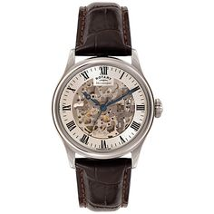 Buy Rotary GS02940/06 Men's Skeleton Leather Strap Watch, Brown/Cream Online at johnlewis.com