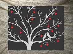 "16"" x 20"" Canvas Wall Art - Choose your colors and your background! Romantic love birds with hearts on ribbon hanging from the branches. Great Wedding or Valentines Day Gift!! Choice of a Swirl Backgr"