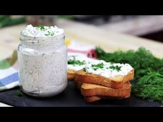 Creamy cheese spread with spring onion and dill - ASMR Cooking Cheese, Creamy Cheese, Cheese Spread, My Recipes, Onion, Appetizers, Breakfast, Spring, Youtube