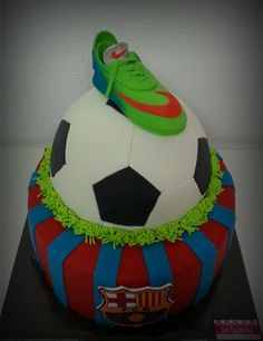 FC Barcelona cake with fondant shoe