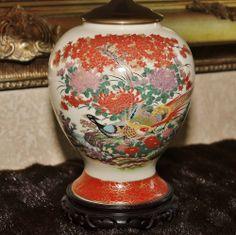 Antique Japanese Pheasant Ginger Jar Vintage Lamp