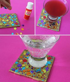 Confetti Coaster DIY: tile (10 cents), spray paint, mod podge and confetti