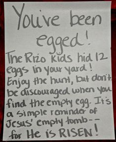 Easter Egg Hunt for your friends.  A simple reminder of Jesus' Empty Tomb!