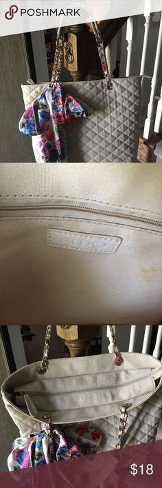 Nice Aldo Handbag Vey pretty quilted look leather handbag from Aldo.  Cream color with satin scarf attached that came with bag.  Scarf could probably be removed if don't like it.  Clean and only couple very small rust type stains as can see in 2nd pic. ALDO Bags Satchels