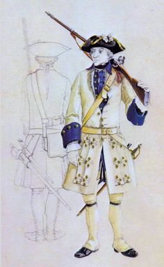 French Line Infantry Uniform - Project Seven Years War The two following plates have been made by the famous French uniformologist Michel Pétard and originally published in the magazine Gazette des Uniformes Number 40 of November-December 1977. Mr. Pétard has kindly authorised us to reproduce these plates in our article but retains full copy right on them.