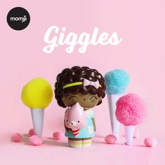 GIGGLES!  Cotton Candy or Candy Floss...depending on where you live! The sweeeeetest way to start the new year. Designed by Helena Stamulak. Momiji are collectable kawaii dolls and make the perfect gifts for your favourite, friends and family.