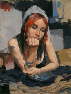 """""""City Girl"""" - Vincent Giarrano {contemporary artist figurative pretty young female woman with tattoos painting} Aspirations !!"""