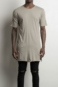 "100% cotton elongated loose tee side slits daniel patrick loose tees are handmade in downtown los angeles (model is wearing size medium and is 6'1"" and 170 lbs)"