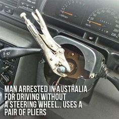 No steering wheel? | 23 Ingenious Australian Solutions To Everyday Problems