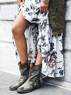 Casual ankle boots + feminine dresses.