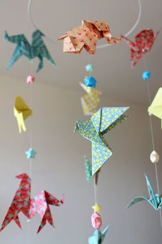 Origami crane hanging mobile ready to ship sophies big girl origami mobile baby animals and stars origami pastel colors red coral yellow blue green crane elephant butterfly bunny horse fish ccuart Gallery