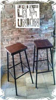 banqueta en hierro y madera reciclada rustica