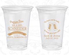 To Have And Hold Wedding Favor Soft Plastic Cups Beer Bar