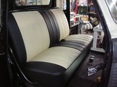 "The ""Bonnie and Clyde"" Custom car upholstery cover all years first series chevy gmc truck bench uphol Gmc Trucks, Pickup Trucks, Classic Hot Rod, Classic Cars, Custom Trucks, Custom Cars, Garniture Automobile, Dodge, Truck Interior"