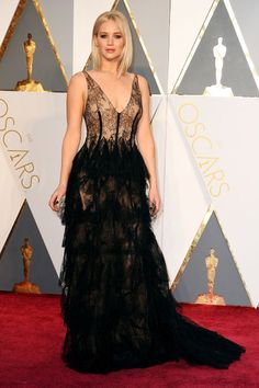 Jennifer Lawrence  Lingerie-inspired Christian Dior had the Joy star winning for sultriest look of the night (and best blonde bob).