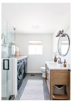 Laundry Bathroom Combo, Downstairs Bathroom, Bathroom Renos, Bathroom Layout, Bathroom Interior, Bathroom Ideas, Narrow Bathroom, Master Bathrooms, Small Bathrooms