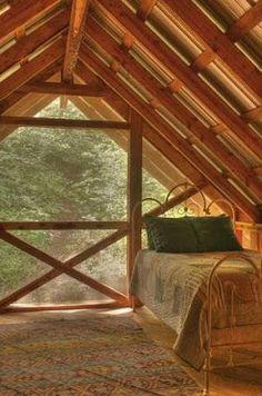 sleeping porch - off the grid house - arkansas