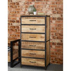 Hand made from reclaimed metal and wood, this industrial tall chest of drawers oozes contemporary, vintage, retro warehouse style Vintage Industrial Furniture, Industrial Living, Reclaimed Wood Furniture, Rustic Furniture, Industrial Metal, Industrial Bedroom, Industrial Drawers, Modern Industrial Decor, Industrial Chandelier