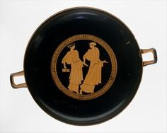 Terracotta kylix (drinking cup). Classical. ca. 460–450 B.C. Greek, Attic.The representation in the tondo provides interesting evidence of the education of women in the mid-5th century B.C. The girl on the left carries a pair of writing tablets and a stylus. Where she and her companion are going is no indicated. Although there apparently were some schools, those who could afford it were probably tutored at home. The girl with the tablets is obviously reluctant, but why we cannot know.
