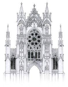 Gothic facade with rose window by dashinvaine on deviantart