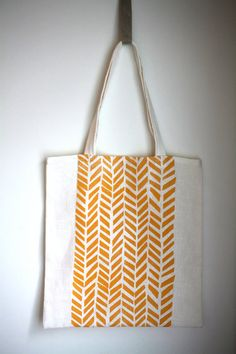 Linen Tote Bag  Blockprinted 'Four Feathers' in by willowship