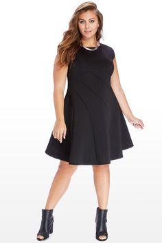 swing sleeveless short plus size black dress