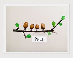 Lovely Family Pebble & sea glass art pictures