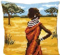 African Beauty Cross Stitch Cushion Kit - SewingCafe