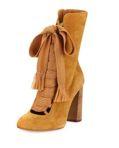 a27a1e2239dfbf Suede+Chunky+Lace-Up+Bootie,+Spicy+Yellow+by. Last Call by Neiman Marcus