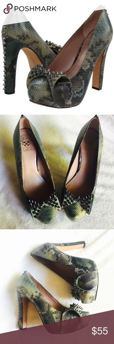 Vince Camuto Jamma bow studded heels EUC wore one time. Size 9 no flaws Vince Camuto Shoes Heels