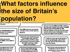 What factors influence the size of Britain's population? Families and Households A-Level Task F 16, Households, Sociology, Factors, Teaching Resources, Britain, Families