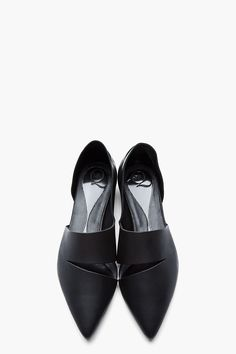 McQ Alexander McQUEEN | Black Leather Slashed Pointy Flat