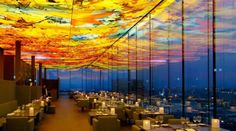 """Restaurant """"Le Loft"""" im Nouvel-Tower in Wien Vienna Beautiful Places In The World, Places Around The World, Restaurant Design, Restaurant Bar, Café Design, Interior Design, Sofitel Hotel, Fabric Ceiling, Islamic Architecture"""