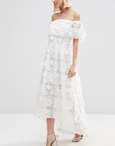 ASOS | ASOS BRIDAL 3D Floral Dip Back Midi  Dress | little white dress | rehearsal dress