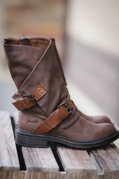 Blowfish Double Buckle Boots-Brown - NanaMacs.com - 1